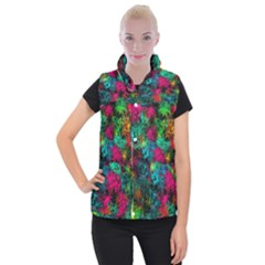 Squiggly Abstract B Women s Button Up Puffer Vest