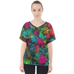 Squiggly Abstract B V Neck Dolman Drape Top