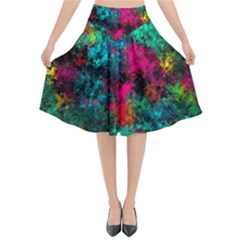Squiggly Abstract B Flared Midi Skirt