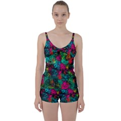 Squiggly Abstract B Tie Front Two Piece Tankini