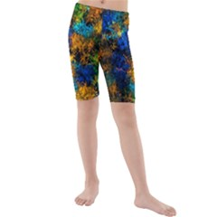 Squiggly Abstract C Kids  Mid Length Swim Shorts