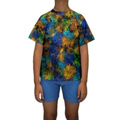 Squiggly Abstract C Kids  Short Sleeve Swimwear