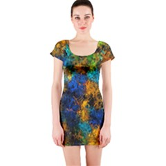 Squiggly Abstract C Short Sleeve Bodycon Dress