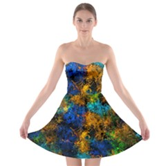 Squiggly Abstract C Strapless Bra Top Dress