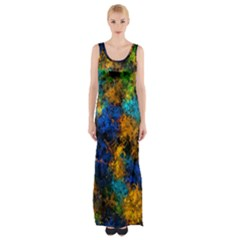 Squiggly Abstract C Maxi Thigh Split Dress