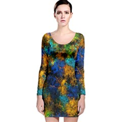 Squiggly Abstract C Long Sleeve Velvet Bodycon Dress