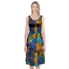 Squiggly Abstract C Midi Sleeveless Dress