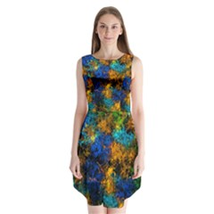 Squiggly Abstract C Sleeveless Chiffon Dress