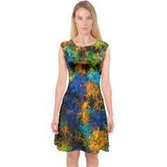 Squiggly Abstract C Capsleeve Midi Dress