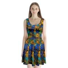 Squiggly Abstract C Split Back Mini Dress