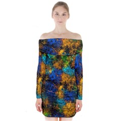 Squiggly Abstract C Long Sleeve Off Shoulder Dress