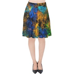 Squiggly Abstract C Velvet High Waist Skirt