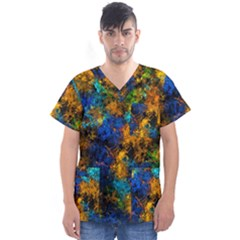 Squiggly Abstract C Men s V Neck Scrub Top