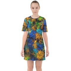 Squiggly Abstract C Sixties Short Sleeve Mini Dress