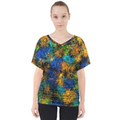 Squiggly Abstract C V Neck Dolman Drape Top
