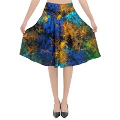 Squiggly Abstract C Flared Midi Skirt