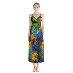 Squiggly Abstract C Button Up Chiffon Maxi Dress