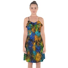 Squiggly Abstract C Ruffle Detail Chiffon Dress