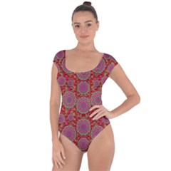 Hearts Can Also Be Flowers Such As Bleeding Hearts Pop Art Short Sleeve Leotard