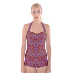 Hearts Can Also Be Flowers Such As Bleeding Hearts Pop Art Boyleg Halter Swimsuit