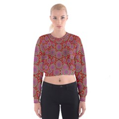 Hearts Can Also Be Flowers Such As Bleeding Hearts Pop Art Cropped Sweatshirt