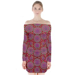Hearts Can Also Be Flowers Such As Bleeding Hearts Pop Art Long Sleeve Off Shoulder Dress