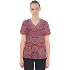 Hearts Can Also Be Flowers Such As Bleeding Hearts Pop Art Scrub Top