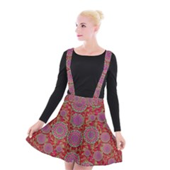 Hearts Can Also Be Flowers Such As Bleeding Hearts Pop Art Suspender Skater Skirt