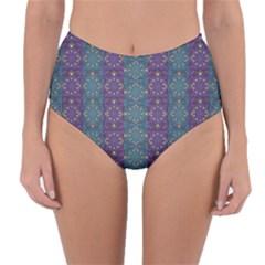 Retro Vintage Bleeding Hearts Pattern Reversible High Waist Bikini Bottoms