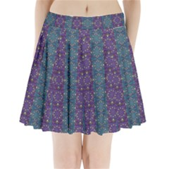 Retro Vintage Bleeding Hearts Pattern Pleated Mini Skirt