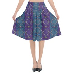 Retro Vintage Bleeding Hearts Pattern Flared Midi Skirt