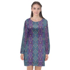 Retro Vintage Bleeding Hearts Pattern Long Sleeve Chiffon Shift Dress