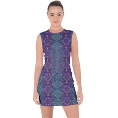 Retro Vintage Bleeding Hearts Pattern Lace Up Front Bodycon Dress