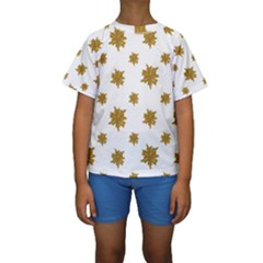 Graphic Nature Motif Pattern Kids  Short Sleeve Swimwear