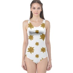 Graphic Nature Motif Pattern One Piece Swimsuit
