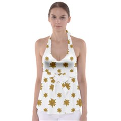 Graphic Nature Motif Pattern Babydoll Tankini Top
