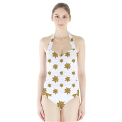 Graphic Nature Motif Pattern Halter Swimsuit