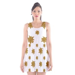 Graphic Nature Motif Pattern Scoop Neck Skater Dress