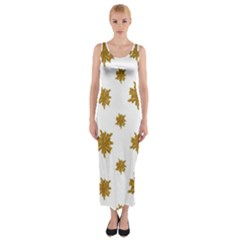 Graphic Nature Motif Pattern Fitted Maxi Dress
