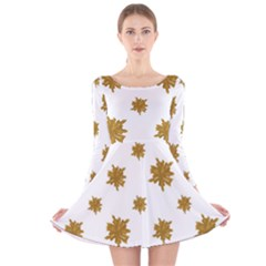 Graphic Nature Motif Pattern Long Sleeve Velvet Skater Dress