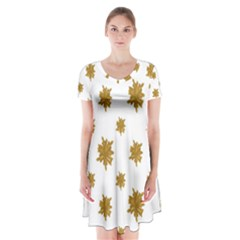 Graphic Nature Motif Pattern Short Sleeve V Neck Flare Dress