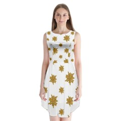 Graphic Nature Motif Pattern Sleeveless Chiffon Dress