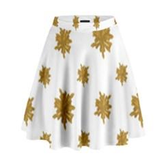 Graphic Nature Motif Pattern High Waist Skirt