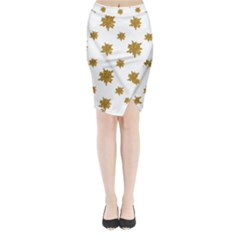 Graphic Nature Motif Pattern Midi Wrap Pencil Skirt