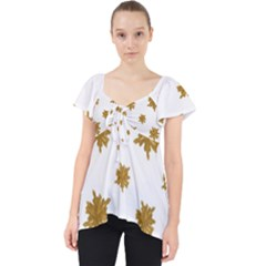 Graphic Nature Motif Pattern Lace Front Dolly Top