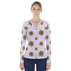 Graphic Nature Motif Pattern V Neck Long Sleeve Top