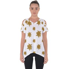 Graphic Nature Motif Pattern Cut Out Side Drop Tee