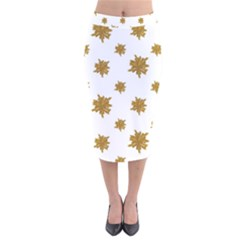 Graphic Nature Motif Pattern Velvet Midi Pencil Skirt