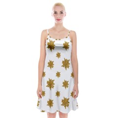 Graphic Nature Motif Pattern Spaghetti Strap Velvet Dress