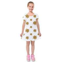 Graphic Nature Motif Pattern Kids  Short Sleeve Velvet Dress